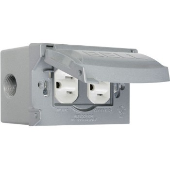GFCI Horizontal, Weatherproof Outlet Kit ~ Nickel Finish
