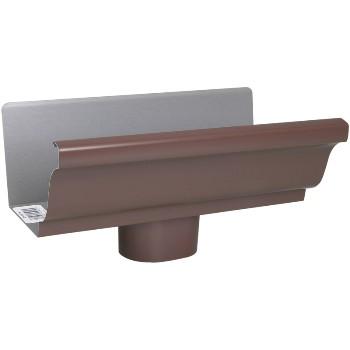 Amerimax 2508019 Style K Aluminum Gutter End Piece wOutlet Brown 5