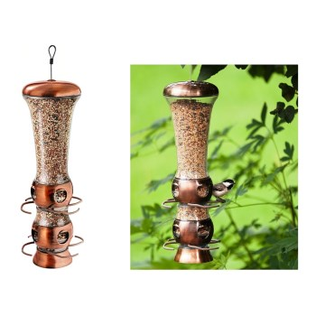"Select-A-Bird Tube Feeder, Copper Finish ~ Approx 3.6"" x 3.53"" x 15.65"""