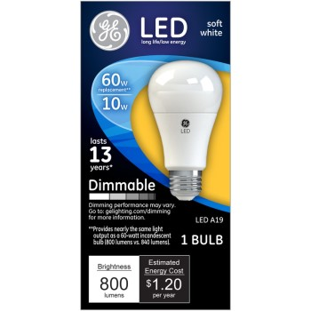 Dimmable LED Light Bulb - 10 watt/60 watt ~ Soft White