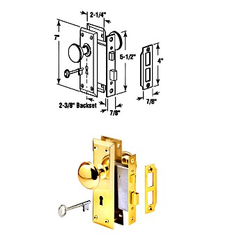 Mortise Lock Set ~ Brass Knob, E2293