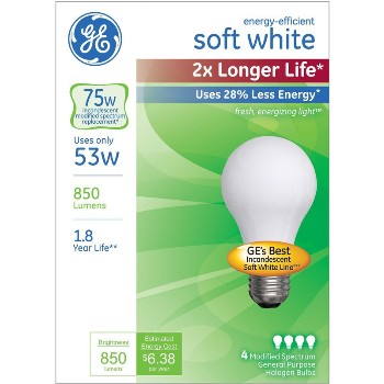 Energy Efficient Halogen Bulb - 53 watt/75 watt ~ Soft White