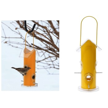 "Yellow Metal Tube Bird  Feeder ~ 9.75"" H x 5.5"" W"
