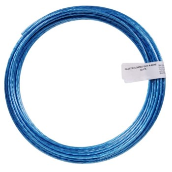 Galvanized Blue Plastic-Coated Guy or Clothesline Wire ~ 50 Ft