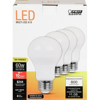 LED Bulb 800 Lumens Natural Light, Non-Dimmable  ~ 60w Replacement