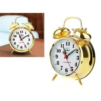 Vintage Look Keywind Twin Bell  Alarm Clock ~ Brass Finish