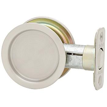 Kwikset 93340-003 Round Pocket Door Handle, Satin Nickel Finish