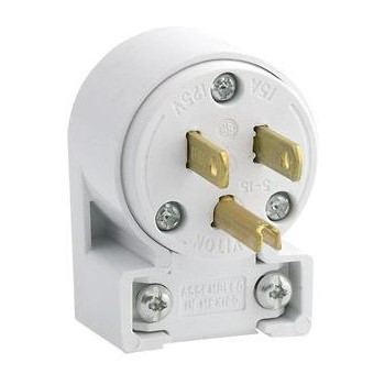 Angular Plug, White ~ 15Amp/3 Wire