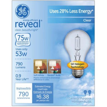 Reveal Energy Efficient Halogen Light Bulb - 53 watt/75 watt ~ Clear