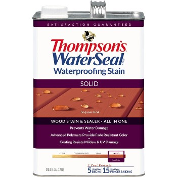 Solid Waterproofing Stain, Sequoia Red ~ Gallon