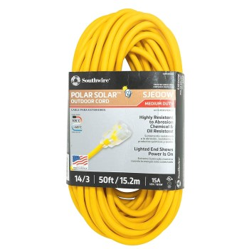 Coleman Cable 01488 Polar/Solar Plus Series 14/3 Outdoor Extension Cord ~ 50 Ft