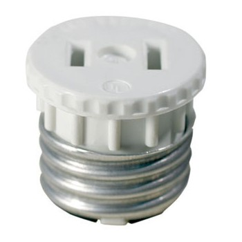 Socket Outlet Adapter, White ~   660W - 125V
