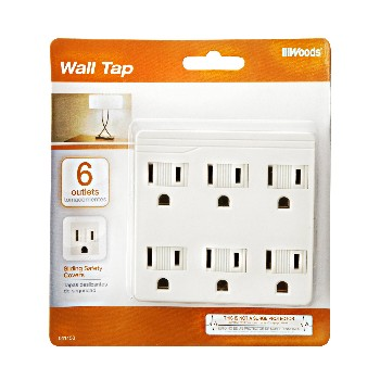 Wall Tap ~  6  Outlet w/Safety Sliders