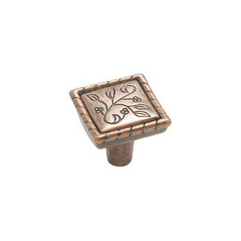 Knob - Square - Weathered Copper Finish