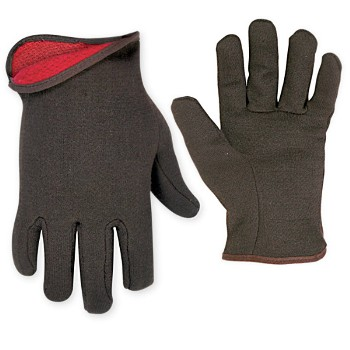 Gloves ~ Lined Brown Jersey/Large