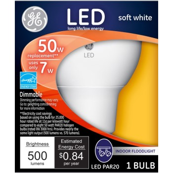 General Electric  74374 LED PAR20 Indoor Floodlight, Soft White - 50 watt