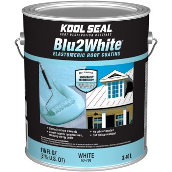 Kool Seal Brand Blu2White Elastomeric Roof Coating, White ~ Gallon