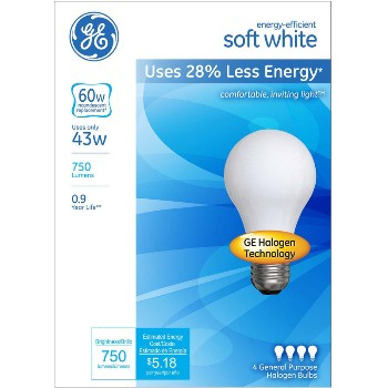 Halogen Bulbs, Soft White ~ 43w