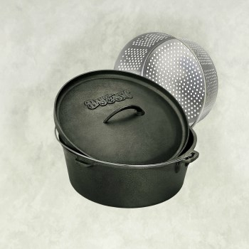 Bayou Classics 7460 Cast Iron Dutch Oven & Basket ~ 8 1/2 Quarts