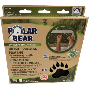 "Polar Bear Thermal Insulating Foam Tape, Black  ~ 3/8"" Thick x  3/8"" W x 10 Ft L"