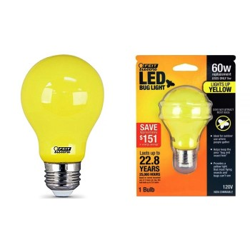 Feit Electric  A19/BUG/LED Non-Dimmable LED Yellow Bug Light ~ 60w Replacement