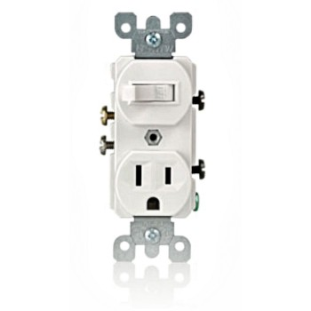 Quiet Switch & Grounding Outlet Combo - White