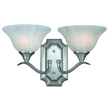 2 Light Wall Light, Satin Nickel