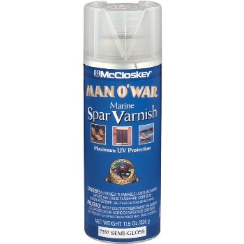 Man O' War Spar Marine Varnish, Semi-Gloss ~ 11.5 oz Spray